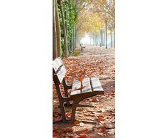 Posterdepot Papel pintado para puerta puerta Póster solitaria Park Banco en una Avenida – Otoño ánimo – Tamaño 93 x 205 cm, 1 pieza, ktt0640