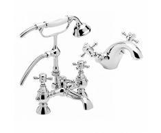 ENKI cromo bañera grifo con alcachofa de ducha + grifo mezclador monomando para lavabo unidades tradicionales Belgravia