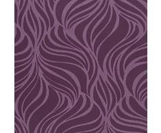 Casadeco Empreintes 21915108 - Papel pintado imitación piel de animales de rayas onduladas color lavanda y ciruela oscuro