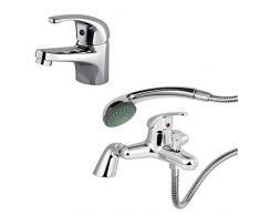 ENKI estándar deck-mount grifo para bañera con alcachofa de ducha + grifo mezclador monomando para lavabo, color rojo