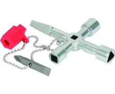 KS Tools 130.1020 - Pack de 8 piezas con Llaves para armario de distribución universal, con cadena, adaptador y bit (tamaño: 90 x 62 mm)