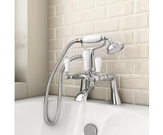 ENKI tradicional para bañera grifo con alcachofa de ducha de altura de cerámica palancas Kensington
