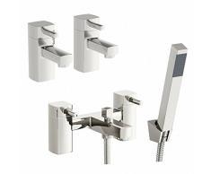 ENKI moderno baño grifo para bañera con alcachofa de ducha + agua fría y caliente doble lavabo grifo unidades deseo
