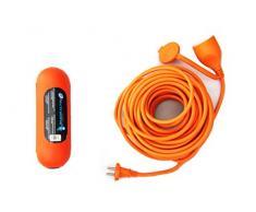 Electraline - Los cables de extensión para el jardín y la caja estanca, zócalo universal, 30m, naranja