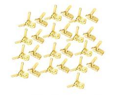 25 piezas tono de oro Metal plegable puerta del armario esquina bisagras 2,2 cm largo