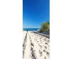 Posterdepot Papel pintado para puerta puerta Póster en el camino de arena a la playa – Cielo Azul sobre el mar – Tamaño 93 x 205 cm, 1 pieza, ktt0698