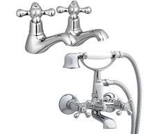 ENKI par de grifos para lavabo mezclador con alcachofa ducha para pared WINDSOR