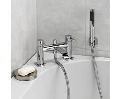 ENKI moderno curvado mezclador para bañera ducha grifo baño cromado latón cubierta montaje Soho