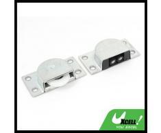 Metal Home armario armario puerta Catch Latch Set 2 piezas plata tono