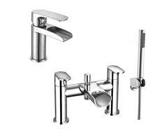 ENKI Diseño y moderno cascada bañera grifo con alcachofa de ducha + grifo mezclador monomando para lavabo unidades Niagara