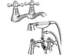 ENKI tradicional de altura Mezclador para bañera y grifo para bañera con ducha + doble agua fría y caliente lavabo grifo unidades Windsor