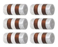 L'agape Set de Pomos para Muebles, Armario Cilíndrico, Madera, 3x3x4.30 cm, 6 Unidades