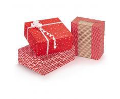 Papel de regalo rojo y blanco motivo oval