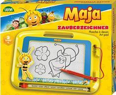 Lena 65687 mágica etiquetadoras, pizarra mágica con abeja Maya, diseño magnético veces Pizarra Pizarra Mágica para niños a partir de 3 años, (con lápiz y control deslizante, pizarra magnética para siempre nuevo para