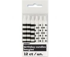 Unique Party- Paquete de 12 velas de cumpleaños a lunares y rayas, Color negro (19243)