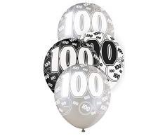 Unique Party Paquete de 6 globos de látex de 100 cumpleaños Color negro Edad (80926