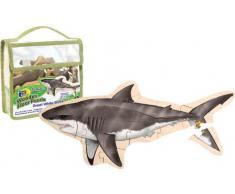 Wild Republic 84772 - Puzzle de suelo de madera dibujo de tiburón [Importado de Alemania]