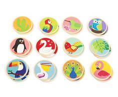 small foot company Memo Mundo de pájaros, FSC 100% certificada Juego de Mesa Compuesto por 24 Cartas de Madera con Motivos Animales de Colores, favorece la concentración y la Paciencia, para niños a Partir de los 2 años. Juguetes,