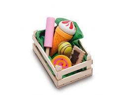 Erzi surtido en pastelería caja de madera, pequeños, comida de juguete, Accesorios Tienda