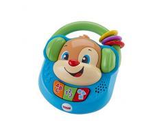Fisher-Price - Perrito musical de paseo de Ríe y Aprende, radio de juguete para bebé +6 meses (Mattel FPV08)