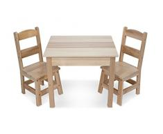 Melissa & Doug - Set de 3 Piezas: Mesa y 2 sillas, Wooden Table & Chairs Set ( 12427)