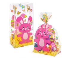 Baker Ross Bolsas de celofán con diseño de conejito de Pascua (Paquete de 30) Ideal para regalos de Pascua para niños