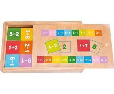 Woodyland Juguetes Didácticos sumar y restar Matemáticas Aprendizaje en una Caja de Madera (81 Piezas)
