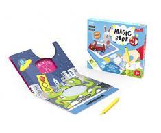 Kibi Magic Book 3D - Libro con Pizarra Magnética y Juegos, Multicolor