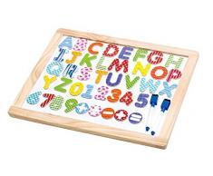 Tooky Toy Tabla de Madera con Alfabeto, números y símbolos de cálculo - Pizarra magnética Multicolor Juguete de Aprendizaje - Aprox. 45 x 35 x 1,2 cm.