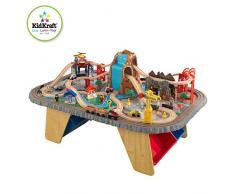 KidKraft- Set de tren con cascada y montaña y mesa, de madera, para niños, juego clásico de actividades ferroviarias con accesorios incluidos (112 piezas) (17498)