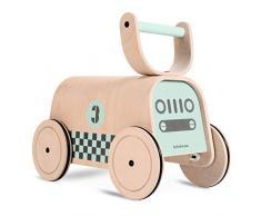 Lalaloom RACER - Andador para Bebé de madera natural, Correpasillos Caminador con ruedas, Juguete Niños con diseño Coche de carreras color verde