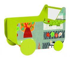 Lalaloom SPACE WAGON - Andador para Bebé con ruedas de Madera azul, Carrito Multifuncional Infantil con espacio Almacenaje para Juguetes