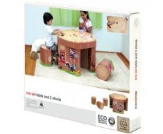 Krooom - Juego de mesa y 3 sillas infantiles de cartón