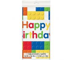 Mantel de Plástico - 2,13 m x 1,37 m - Fiesta de Cumpleaños de Bloques de Construcción