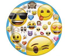 Unique 50603, Mantel de plástico con diseño de Emoji, Pack de 8