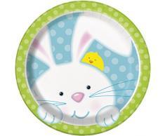 Platos desechables con conejo de Pascua, 18 cm, paquete de 8