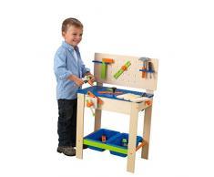 KidKraft 63329 Banco de carpintería de madera para niños Deluxe con juego de herramientas y mesa de actividades