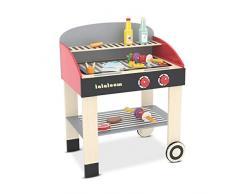 Lalaloom BABYCUE - Cocina Infantil de Madera para Niños, Juguete cocinita Barbacoa con múltiples accesorios 47x31x58 cm