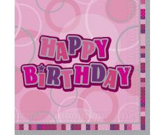 Unique Party-Paquete de 16 servilletas de papel Happy Birthday, color rosa, Feliz Cumpleaños (28432)