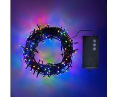 Shatchi 51013-OUTDOOR-LIGHTS-50-MC-1CS 50 luces LED de hadas a batería, impermeables, para decoración interior y exterior, 8 modos de cambio/temporizador/fiesta de Navidad de cumpleaños, multicolor