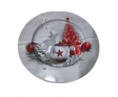 Idena 30179 - Plato de Navidad, color gris y rojo