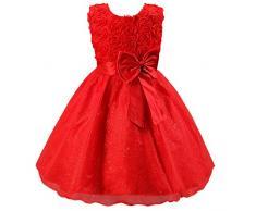 Katara - Vestido de noche para Niña con flores y con arco, color Rojo, talla 92/98 (tamaño fabricante 90)