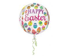 Amscan 3234701 Orbz - Globo de papel de aluminio con diseño de conejos y huevos de Pascua (15 x 16 pulgadas)