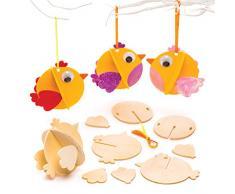 Baker Ross Adornos de madera 3D con forma de pollito de Pascua (Paquete de 6) Manualidades de Pascua para niños