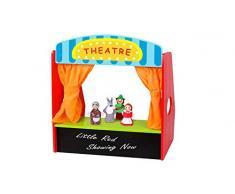 Beehive Toys Puppet Theatre Juguete para niños, Teatro de Mesa de Madera con 4 Marionetas Rojas de Dedo