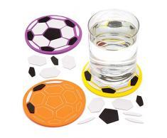 Baker Ross- Kits de posavasos de fútbol para decorar con mosaicos (Pack de 4) - Manualidades infantiles para decorar con mosaicos