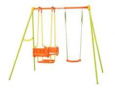 Columpio Infantil de jardín Kettler - Color: Naranja y Verde - con uno, Dos o Tres Asientos - Calidad Made in Germany
