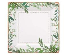 Amscan International 542143 - Vajilla de papel y plástico, 18 cm, diseño de amor y hojas