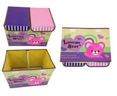 GMMH Diseño Caja Juegos con Bordado Ciervo Muebles Infantiles Aufbewahrungsbox Toybox Almacenamiento Ton