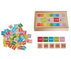 Woodyland Didáctica Juguetes multiplicar y Dividir Matemáticas Aprendizaje en una Caja de Madera (81 Piezas)